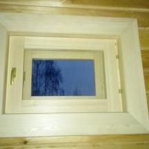 Финское окно в парную, вид изнутри